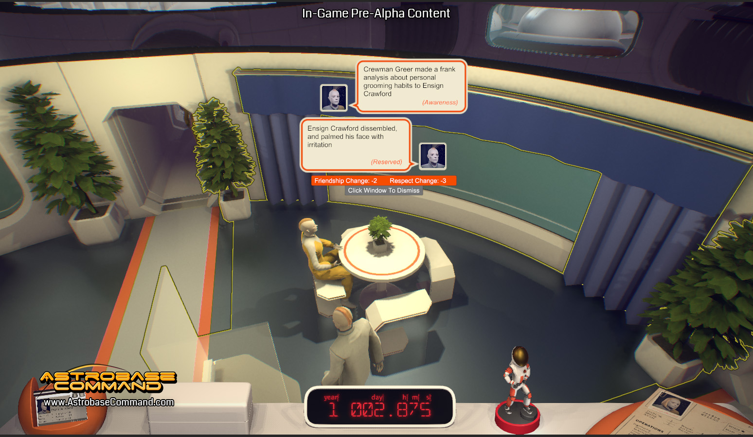 Watch your crew chat away and read procedurally-generated reports – Pre-Alpha Art is Subject to Change